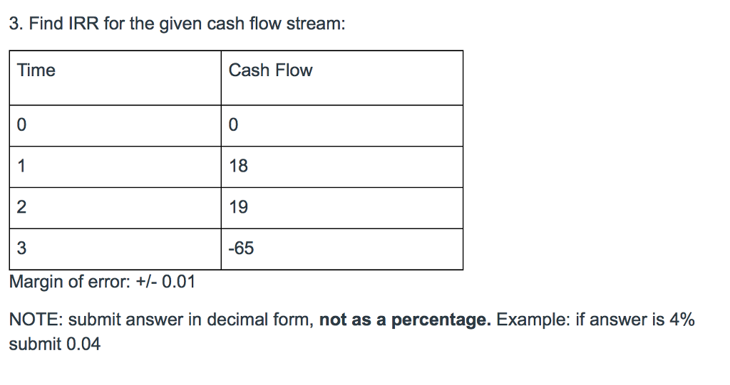 solved 3 find irr for the given cash flow stream time c