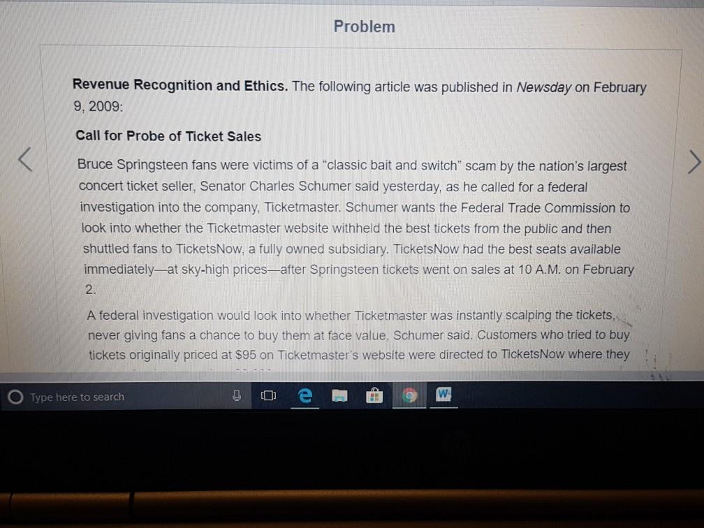 Problem Revenue Recognition And Ethics. The Follow... | Chegg.com