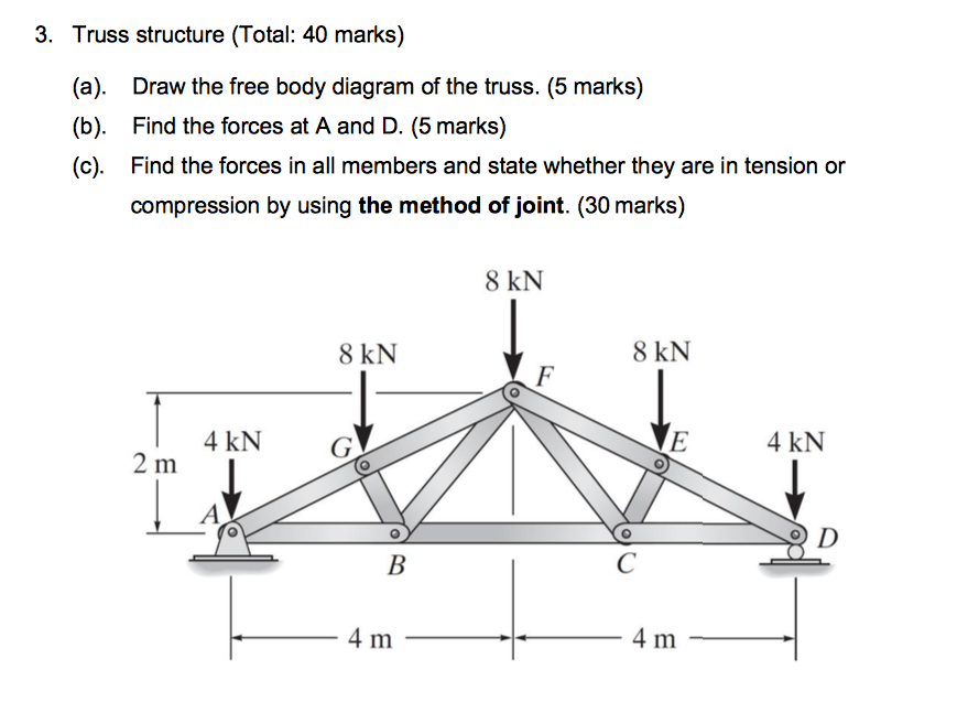 Solved 3 Truss Structure Total 40 Marks A B C