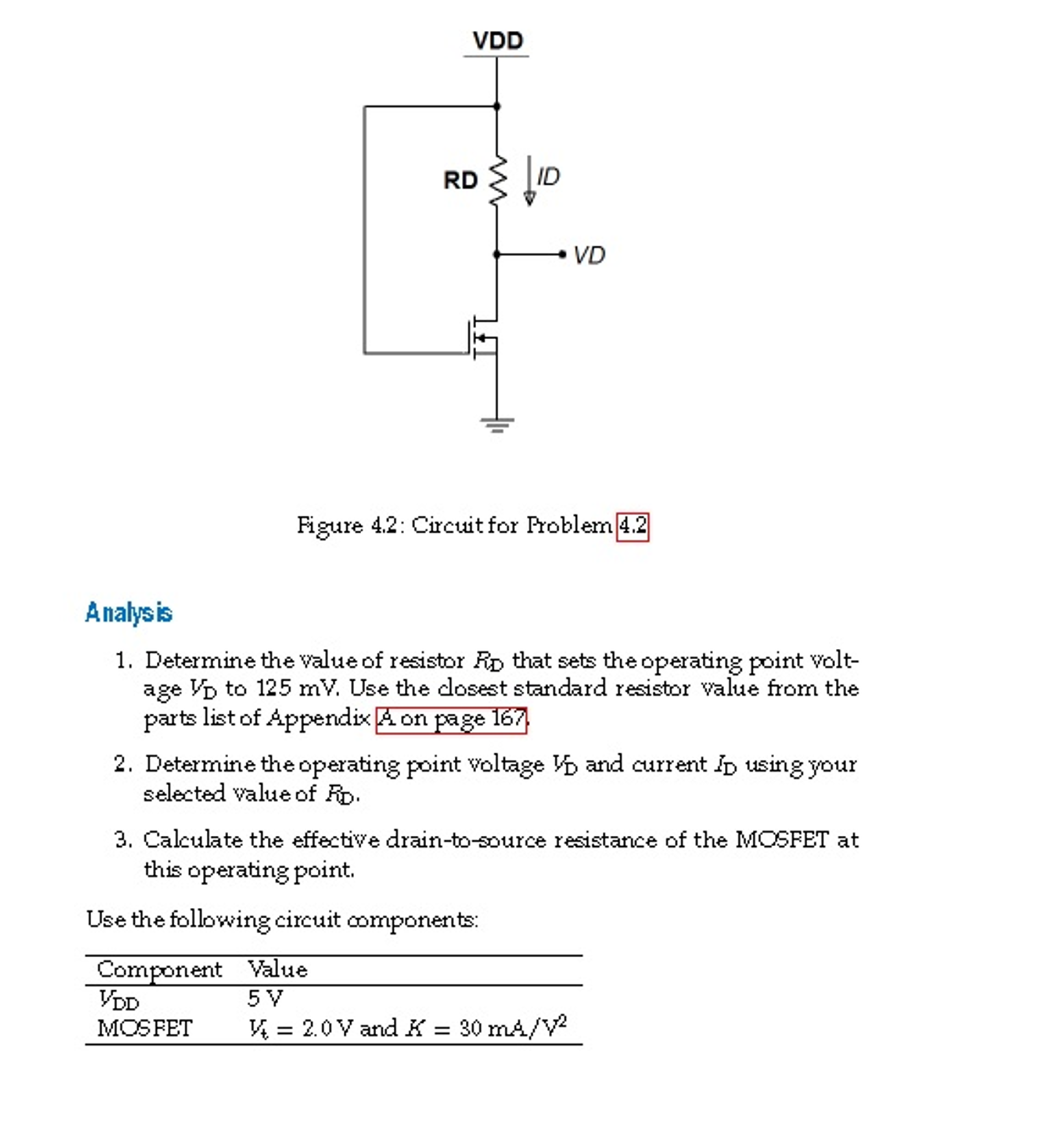 solved determine the value of resistor rd operating poin rh chegg com