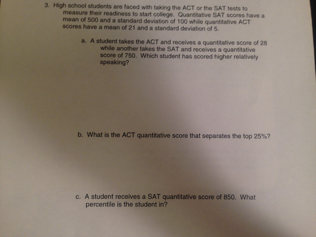 3, High School Students Are Faced With Taking The Act The Sat Tests To  Measure How To Calculate Standard Deviation