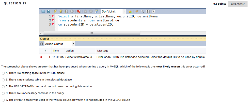 Solved: SQL Database Questions *ONLY ANSWER IF ANSWERING A