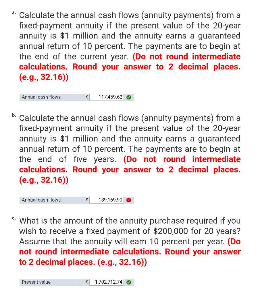 O Calculate The Annual Cash Flows Annuity Paymen