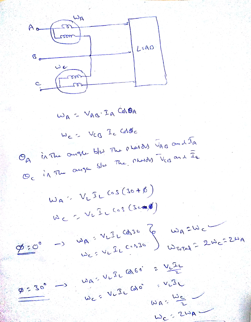 solved when using the two wattmeter method to measure tot Three-Phase Motor when using the two wattmeter method to measure total three phase power under what conditions might one of the wattmeter readings have a negative value