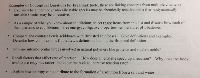 Solved Examples Of Conceptual Questions For The Final N
