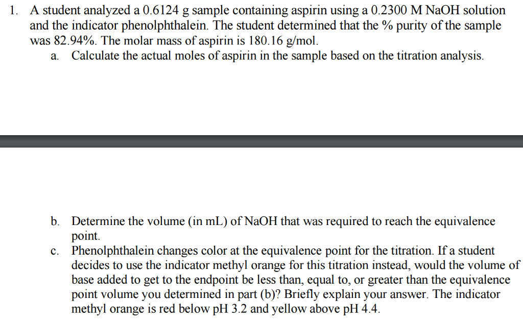 purity of aspirin titration