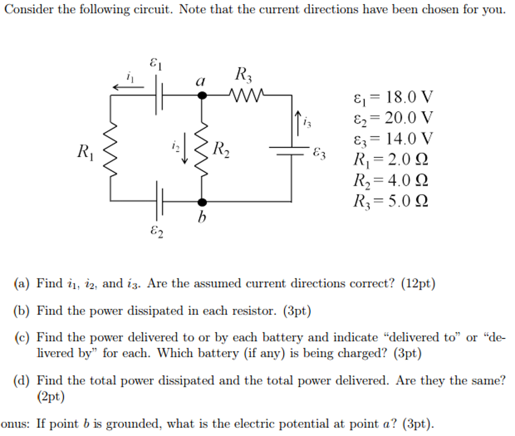 Solved Consider The Following Circuit Note That Curr Electric Potential In A