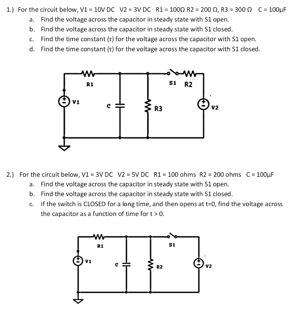 Series Parallel Dc Circuits Of 3v Wiring Diagram And Ebooks Open Circuit Solved 1 For The Below V1 10v V2 R1 Rh Chegg Com Problems Examples