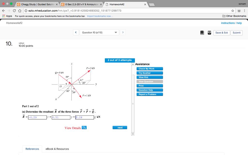 Solved: Chegg Study! Guided Solutic ×Ye } Y) Homework#2 0