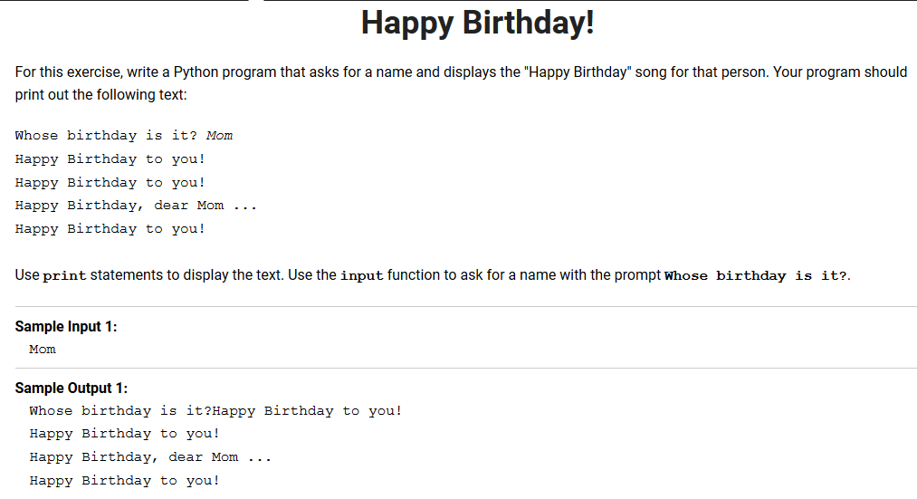 Solved Happy Birthday For This Exercise Write A Python