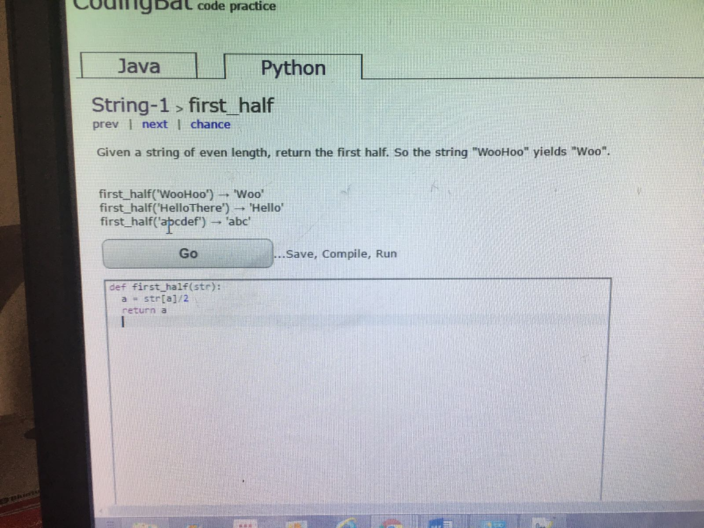 Solved: CodingBat Code Practice Java Python String-1 Combo