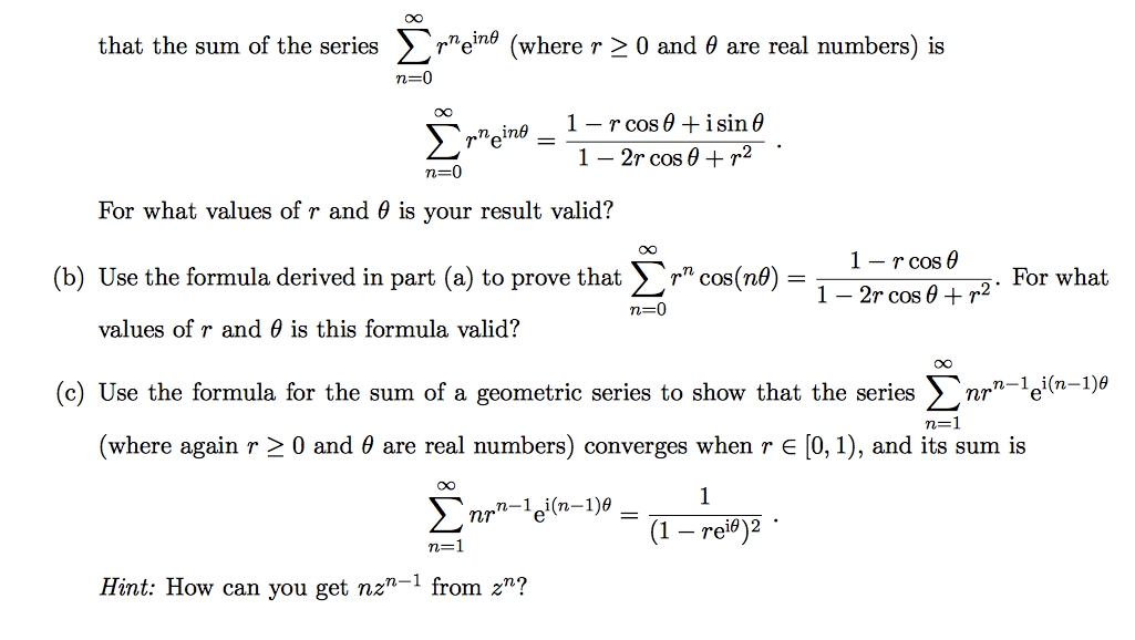 Solved: Problem 6  (a) Use The Formula For The Sum Of A Ge