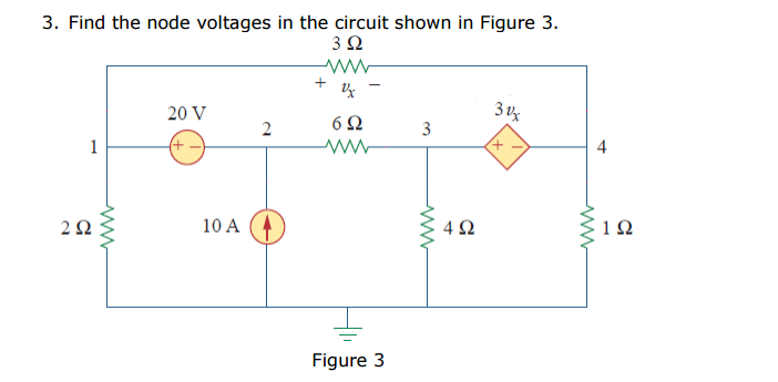 Find the node voltages in the circuit shown in Fig