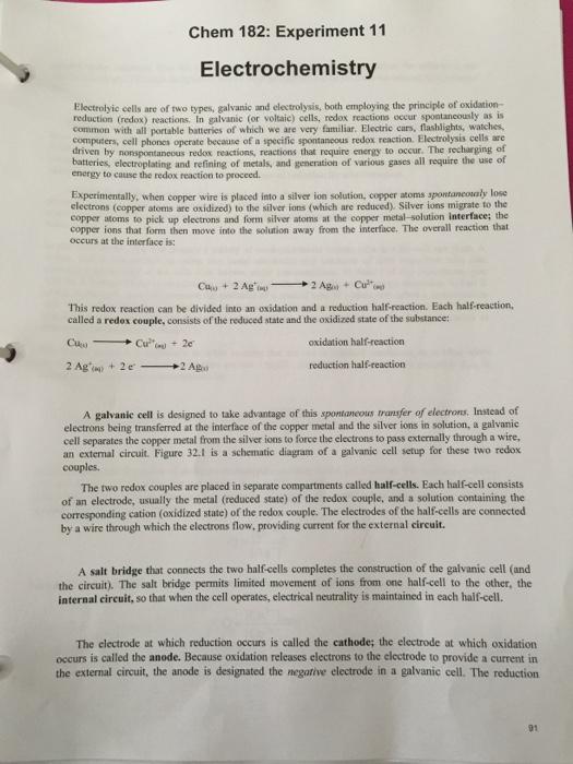 Solved: Chem 182: Experiment 11 Electrochemistry Electroly ...