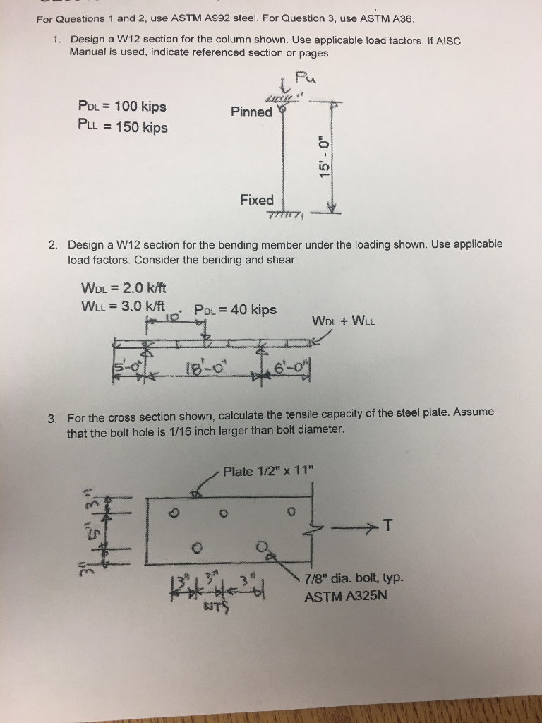 Solved: For Questions 1 And 2, Use ASTM A992 Steel  For Qu
