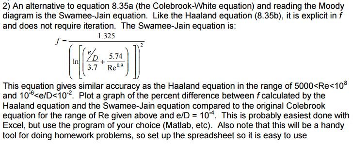 Solved an alternative to equation 835a the colebrook wh 2 an alternative to equation 835a the colebrook white equation and ccuart