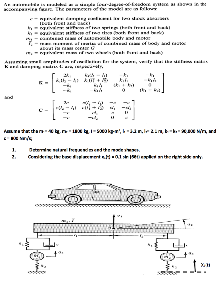 An Automobile Is Modeled As A Simple Four Degree O Chegg Com