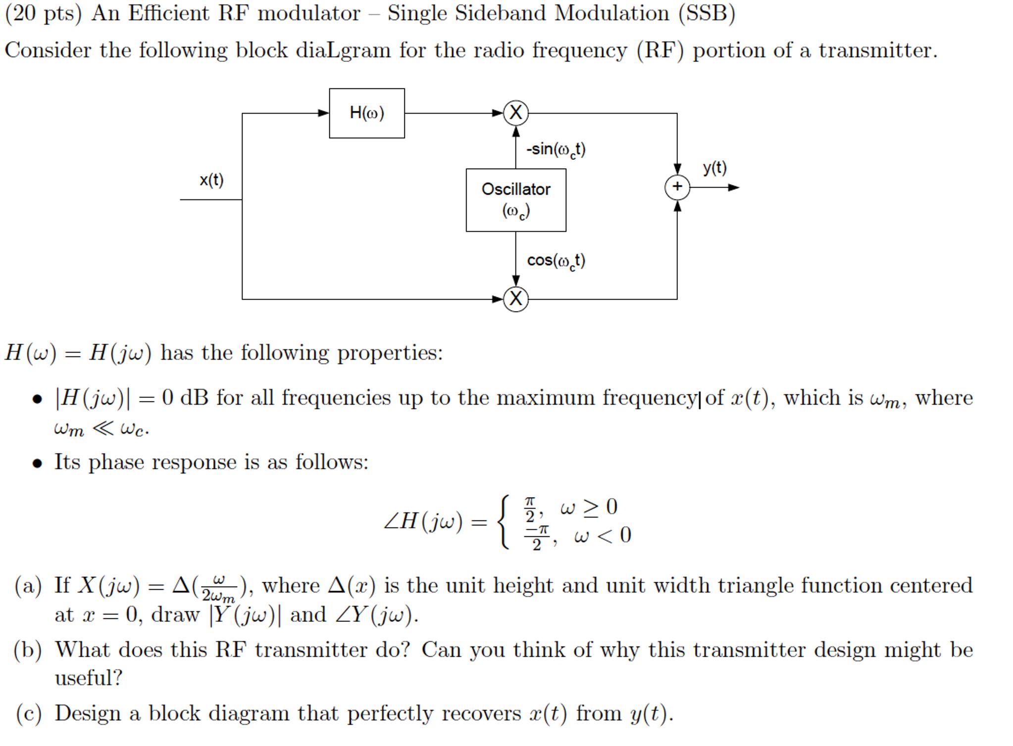 Solved An Efficient Rf Modulator Single Sideband Modula Transmitter Block Diagram