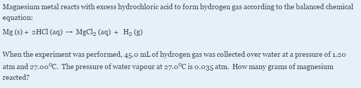 magnesium plus hydrochloric acid
