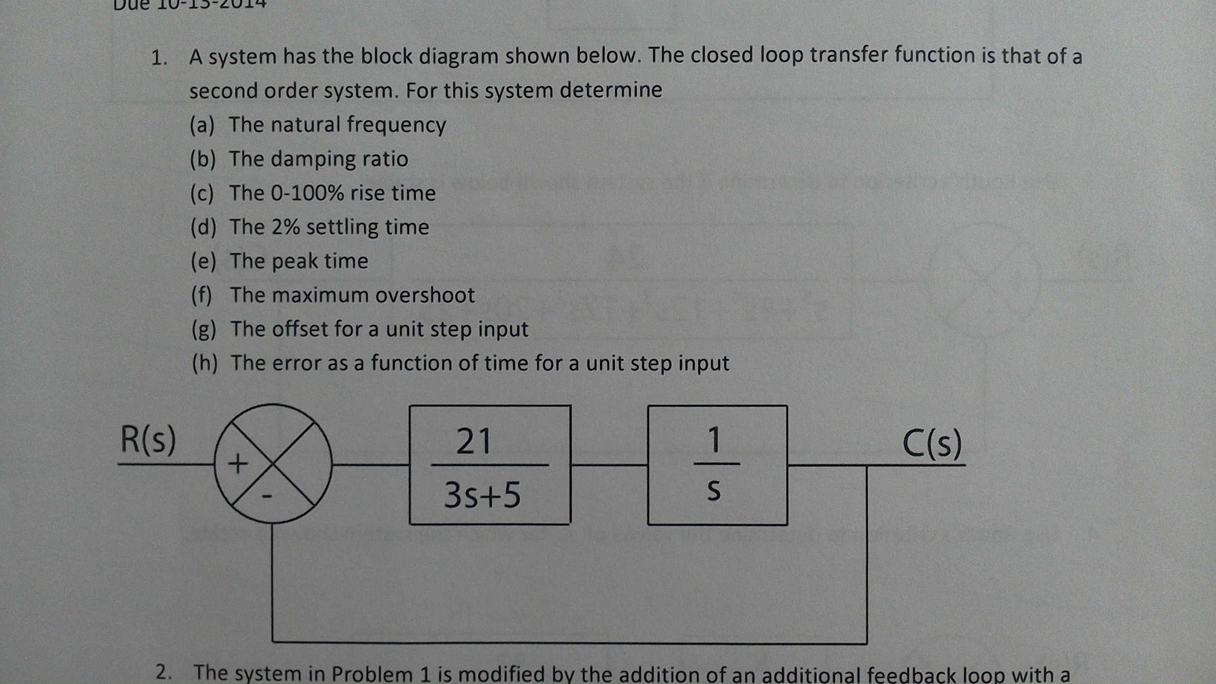 Mechanical engineering archive october 12 2014 chegg a system has the block diagram shown below the closed loop transfer function is that of a second order system for this system determine the natural nvjuhfo Image collections