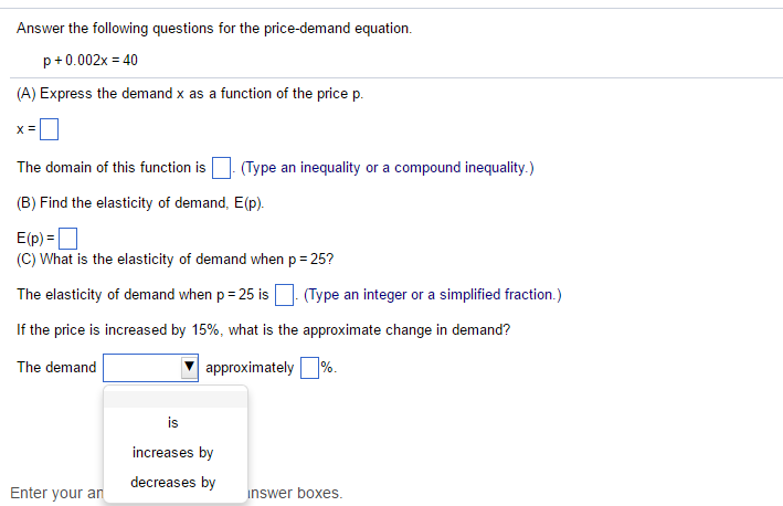 Solved Answer The Following Questions For The Price Deman