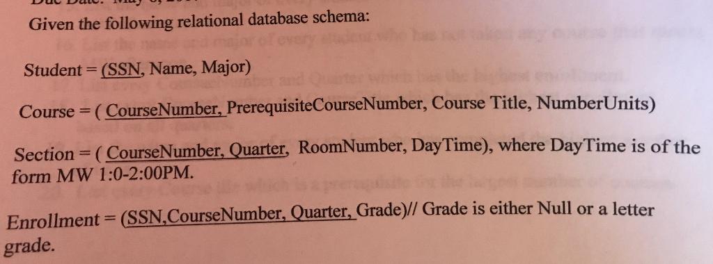 database schema for enrollment system