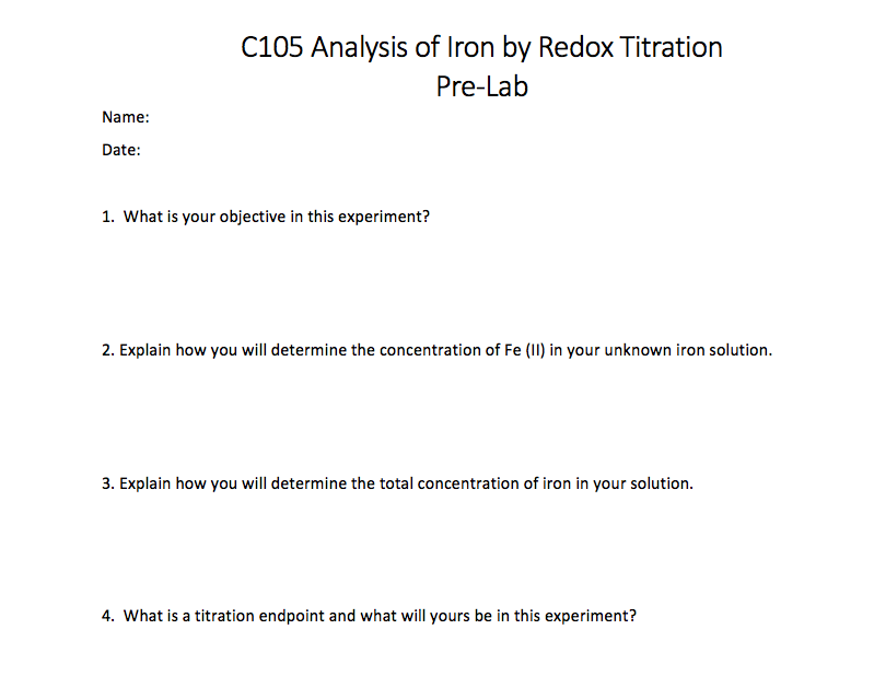determination of iron by redox titration Redox indicator should be able to possess the sudden change at the equivalence point during the redox titration redox titrations is determination of iron.