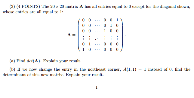 Solved: The 20 Times 20 Matrix A H As All Entries Equal To