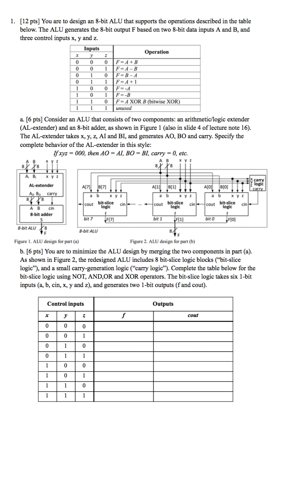 you are to design an 8 bit alu that supports the o chegg com rh chegg com AGC Circuit Diagram MIPS Control Circuit Diagrams