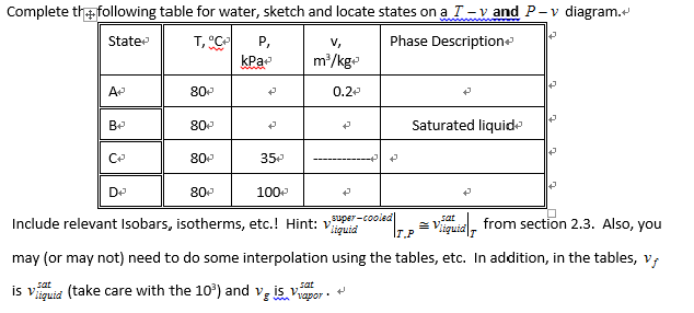 Solved Complete The Lowing Table For Water Sketch And Lo