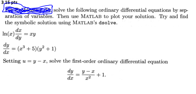 Solved: Solve The Following Ordinary Differential Equation