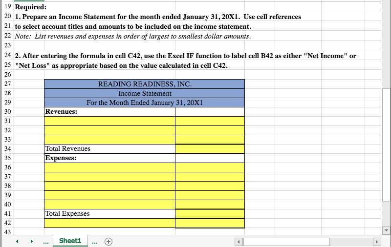 solved 1 prepare an income statement from a list of acco