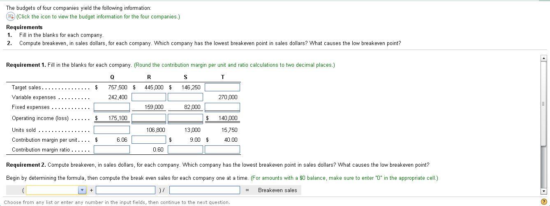 requirement 2  compute breakeven  in sales dollars