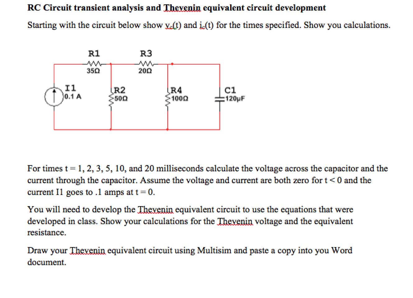 Solved Rc Circuit Transient Analysis And Thevenin Equival Pictures Question Equivalent Development Starting With The Circ
