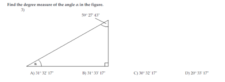 Solved: Find The Degree Measure Of The Angle Alpha In The ... | Chegg.comChegg