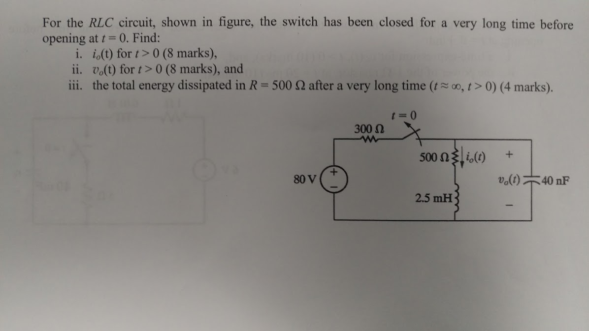Solved: For The RLC Circuit, Shown In Figure, The Switch H ...