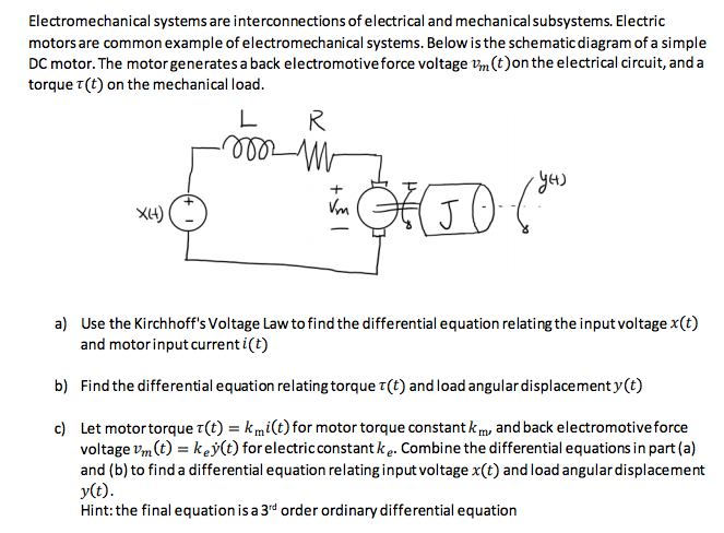 Solved: Electromechanical Systems Are Interconnections Of ...