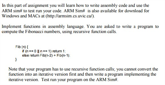Please Write Assembly Code And Use The ARM Sim# To    | Chegg com