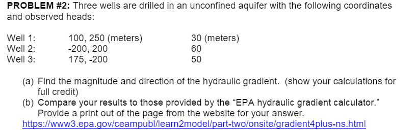 Solved Three Wells Are Drilled In An Unconfined Aquifer W