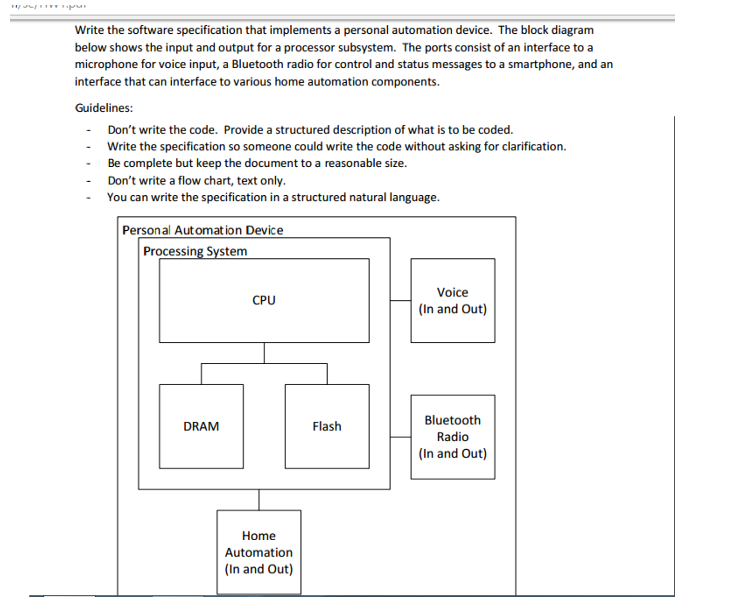 Solved you are not writing any code but just just clear d write the software specification that implements a personal automation device the block diagram below shows ccuart Choice Image