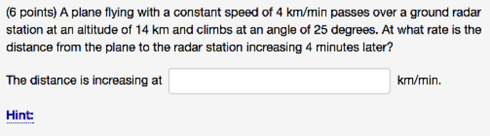 6 Points A Plane Flying With A Constant S D Of 4 Km Min
