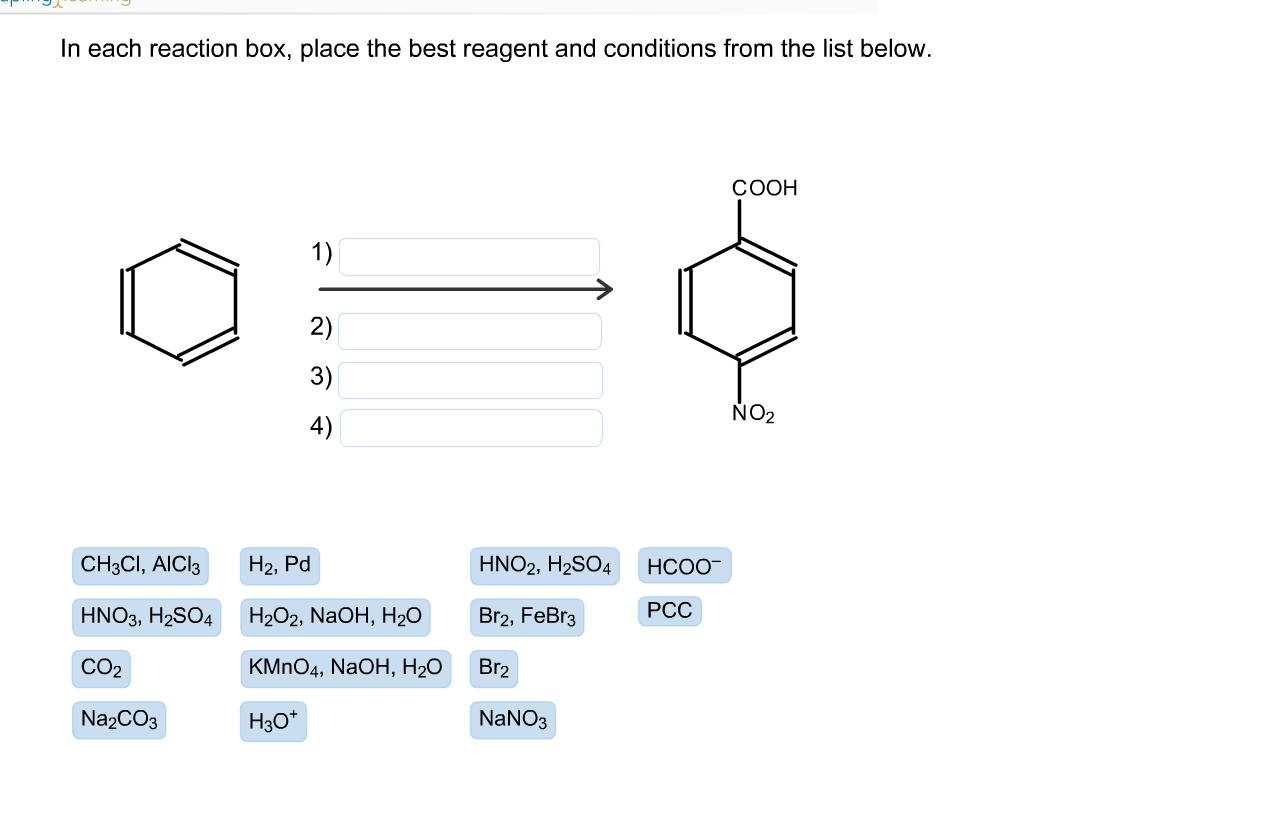 Solved In Each Reaction Box Place The Best Reagent And C Chegg Com