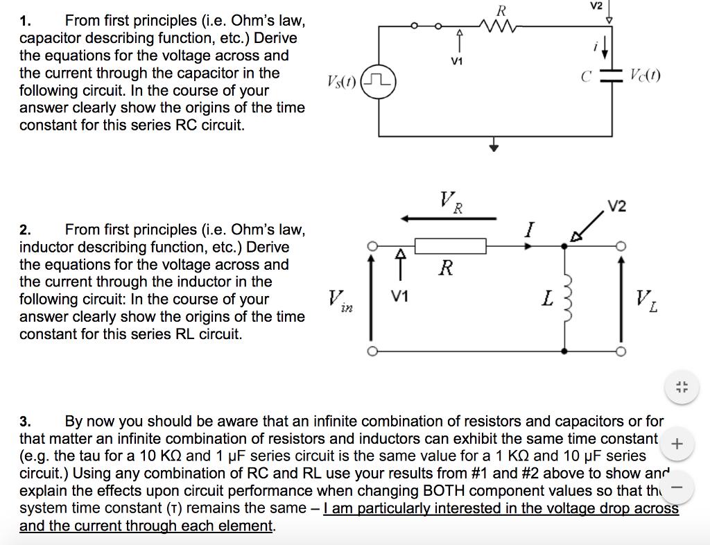 Solved V2 1from First Principles Ie Ohms Law Capaci Describe A Series Circuit From Capacitor Describing Function Etc