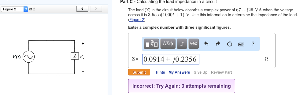 Solved: Part C - Calculating The Load Impedance In A Circu
