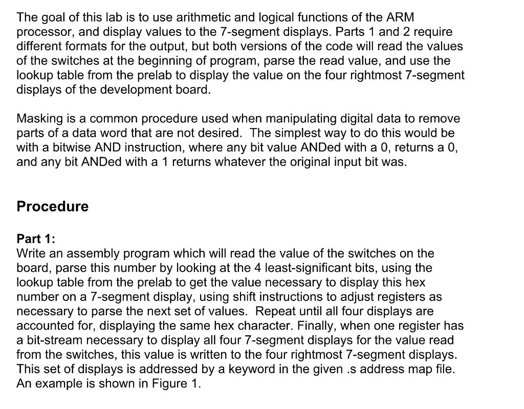 Assembly 7-Segment Displays ARM DE1-SOC With Intel