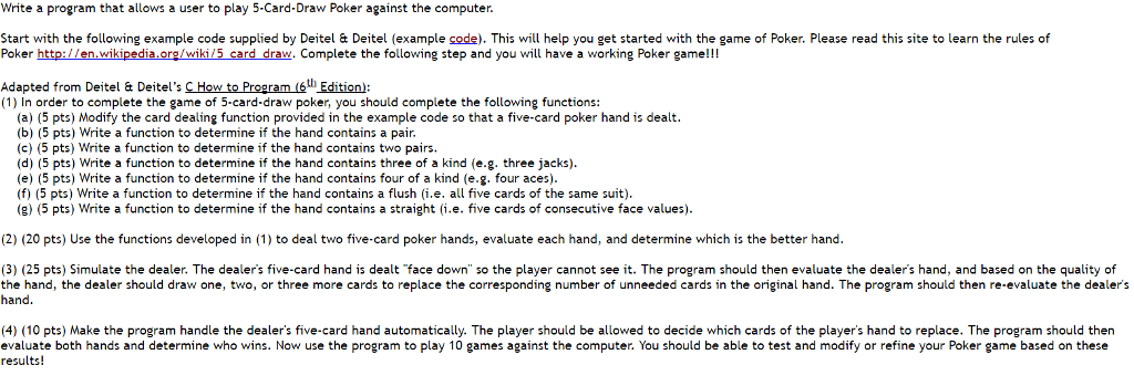 Solved Write A Program That Allows A User To Play 5 Card