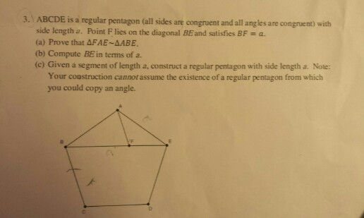 solved 3 abcde is a regular pentagon all sides are cong rh chegg com