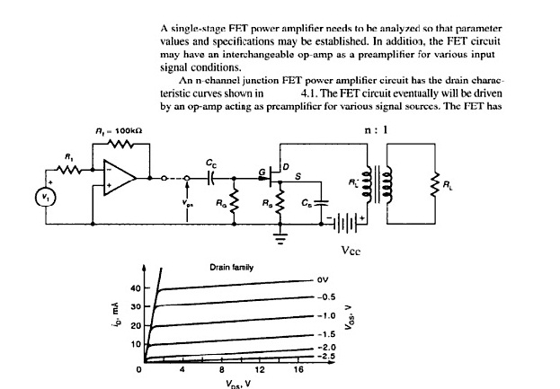 A single-stage FET power amplifier needs to he analyzed so that parameter values and specifications may be established. In additio, the FET circuit may have an interc signal condition le op-amp as a preamplifier for various inp s. An n channel junction FET power amplifier circuit has the drain charac 4.1. The FET circuit eventually will be drivern by an op-amp acting as preamplificr for various signal sources. The FET has teristic curves shown in Vcc Drain farpily oV 40 30 20 10 -0.5 -2.0 -2.5 12