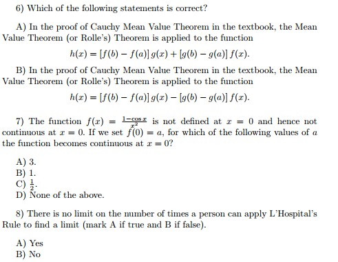 Solved: 6) Which Of The Following Statements Is Correct? A ...