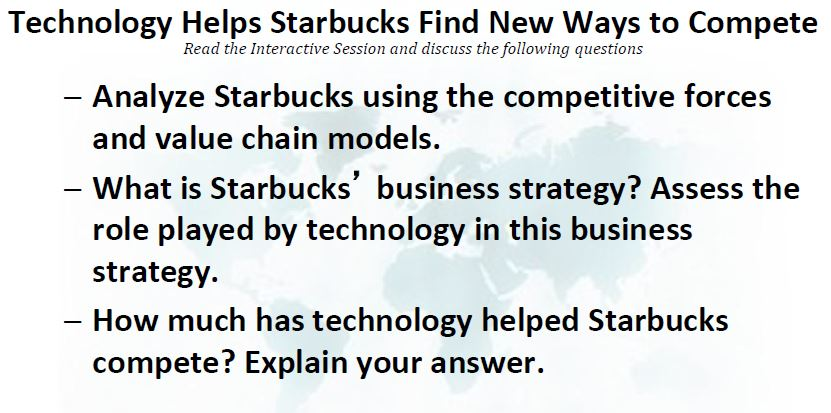 technology helps starbucks find new ways to compete essay Technology helps starbucks find new ways to compete {case 3 } posted by wijdan ibrahim at 11:11  ups competes globally with information technology.